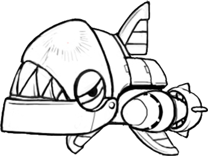 Chop Chop Concept Art Black White Sonic The Hedgehog 4 Episode 2 Badniks Robots Gallery Sonic Scanf